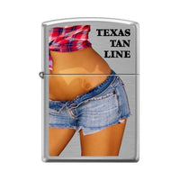 Zippo Lighter - Texas Tan Line Brushed Chrome