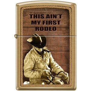 Zippo Lighter - This Ain't My First Rodeo Brushed Brass