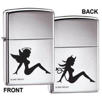 Zippo Lighter - Trucker Angel Devil High Polish Chrome - Lighter USA