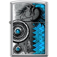 Zippo Lighter - Turquoise Horse Dreamcatcher Street Chrome - Lighter