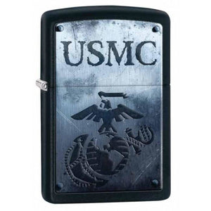 Zippo Lighter - U.S. Marines USMC Black Matte