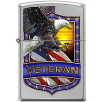 Zippo Lighter - Veteran - Eagle Hi Polish Chrome