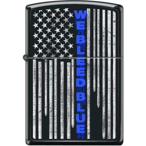 Zippo Lighter - We Bleed Blue Black Matte - Lighter