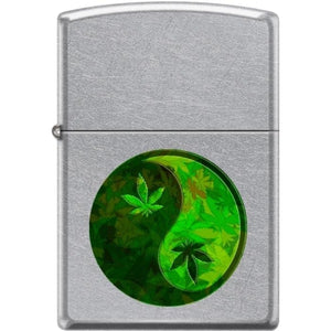 Zippo Lighter - Ying Yang Pot Leaf Pipe Lighter Street Chrome