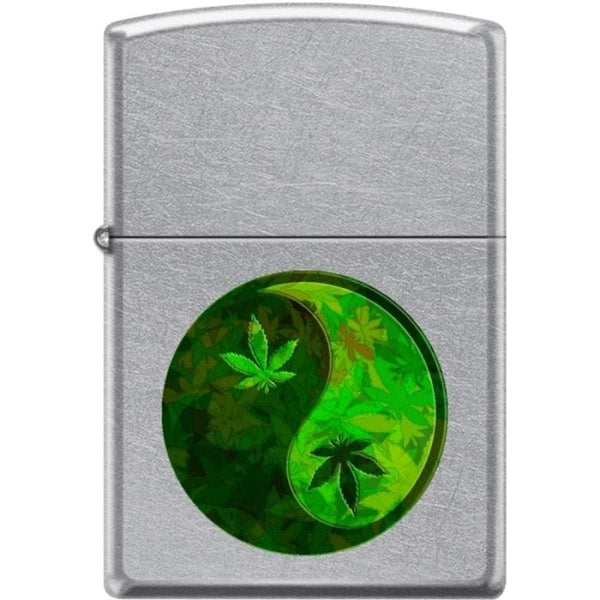 Zippo Lighter - Ying Yang Pot Leaf Pipe Lighter Street Chrome - Lighter