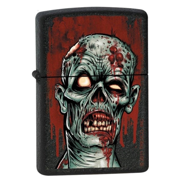 Zippo Lighter - Zombie Head Black Crackle - Lighter USA