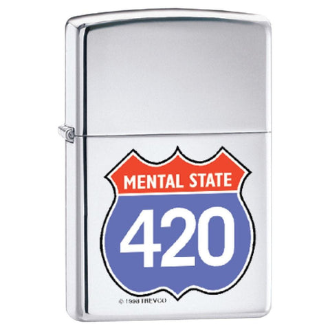 Zippo Lighter - Mental State 420 High Polish Chrome - Lighter USA - 1