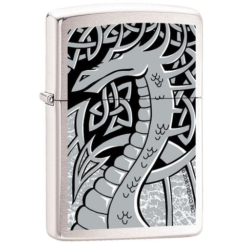 Zippo Lighter - Silver Dragon Brushed Chrome - Lighter USA