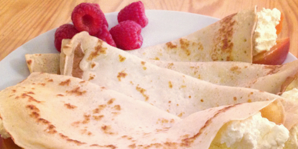Poached Nectarine Crepes