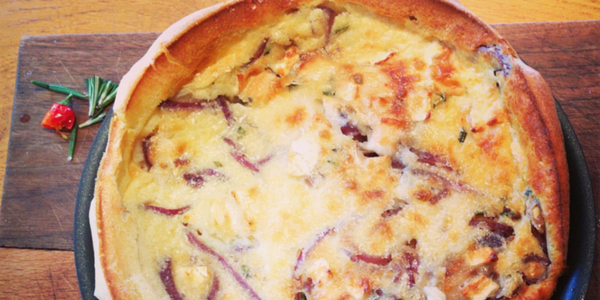 Red Onion & Goat's Cheese Pancake Bake