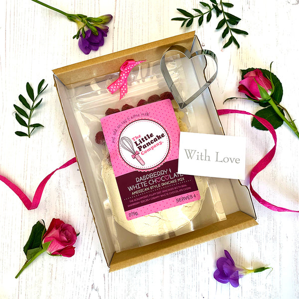 Pancake Gift Set - Raspberry and White Chocolate Chip Mix and Cutter