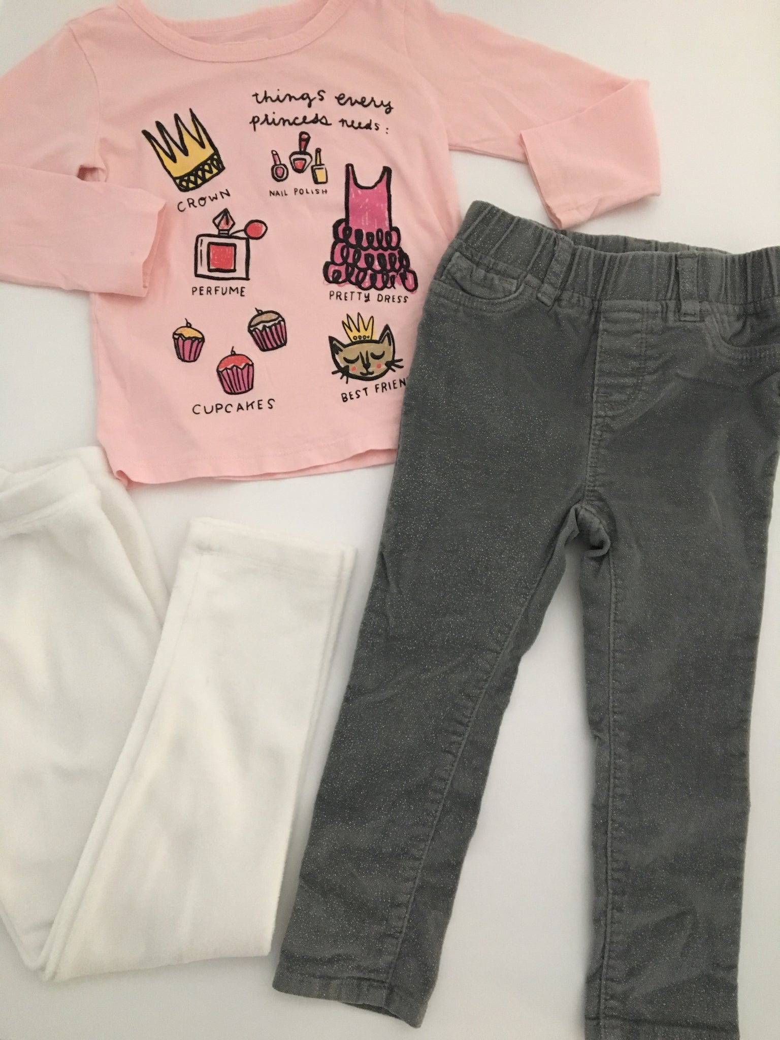 Baby Gap Corduroy Jeggings + Fleece Leggings + Shirt | 2T