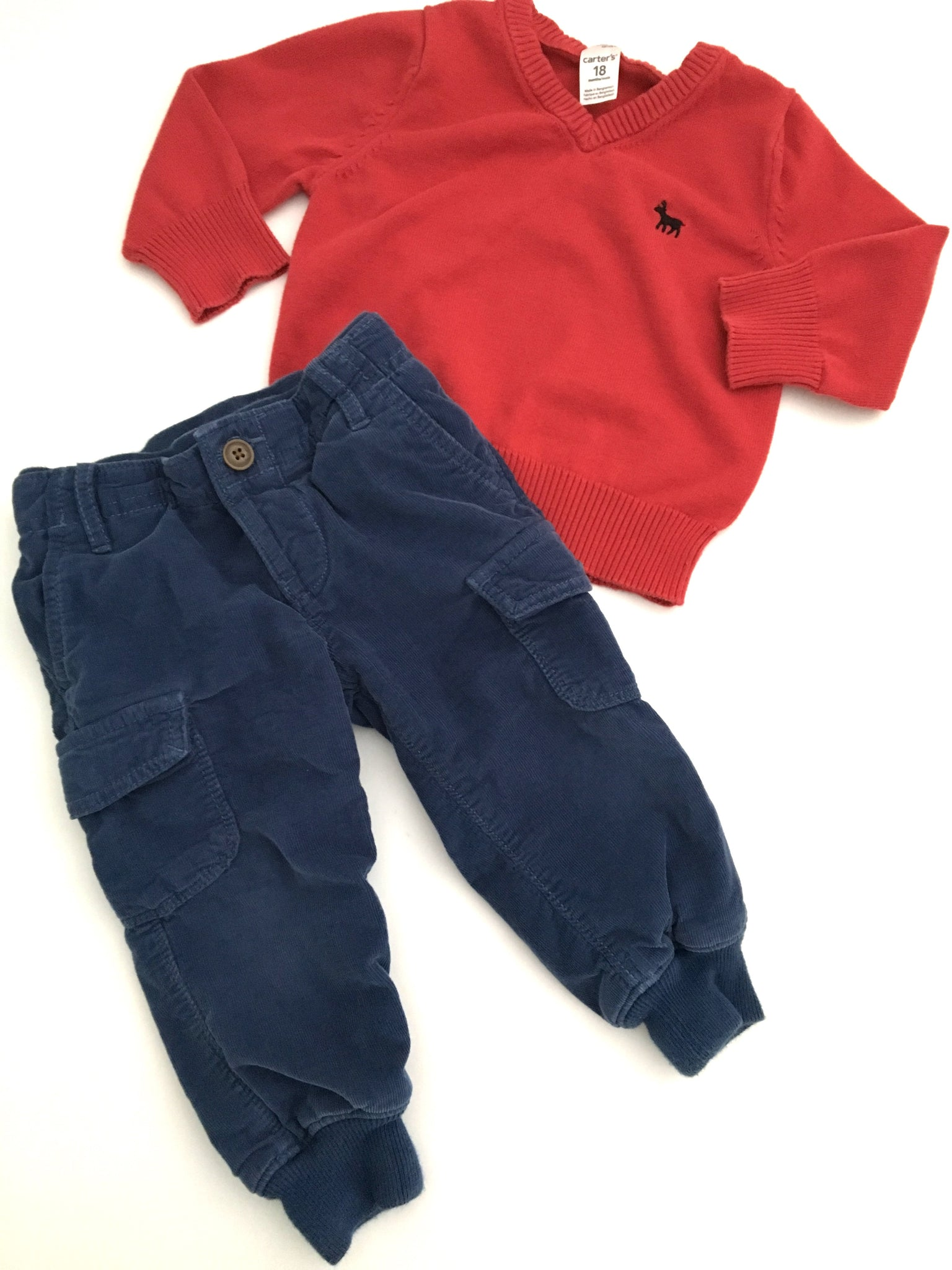 Baby Gap Lined Khakis + Carter's Sweater | 18-24M