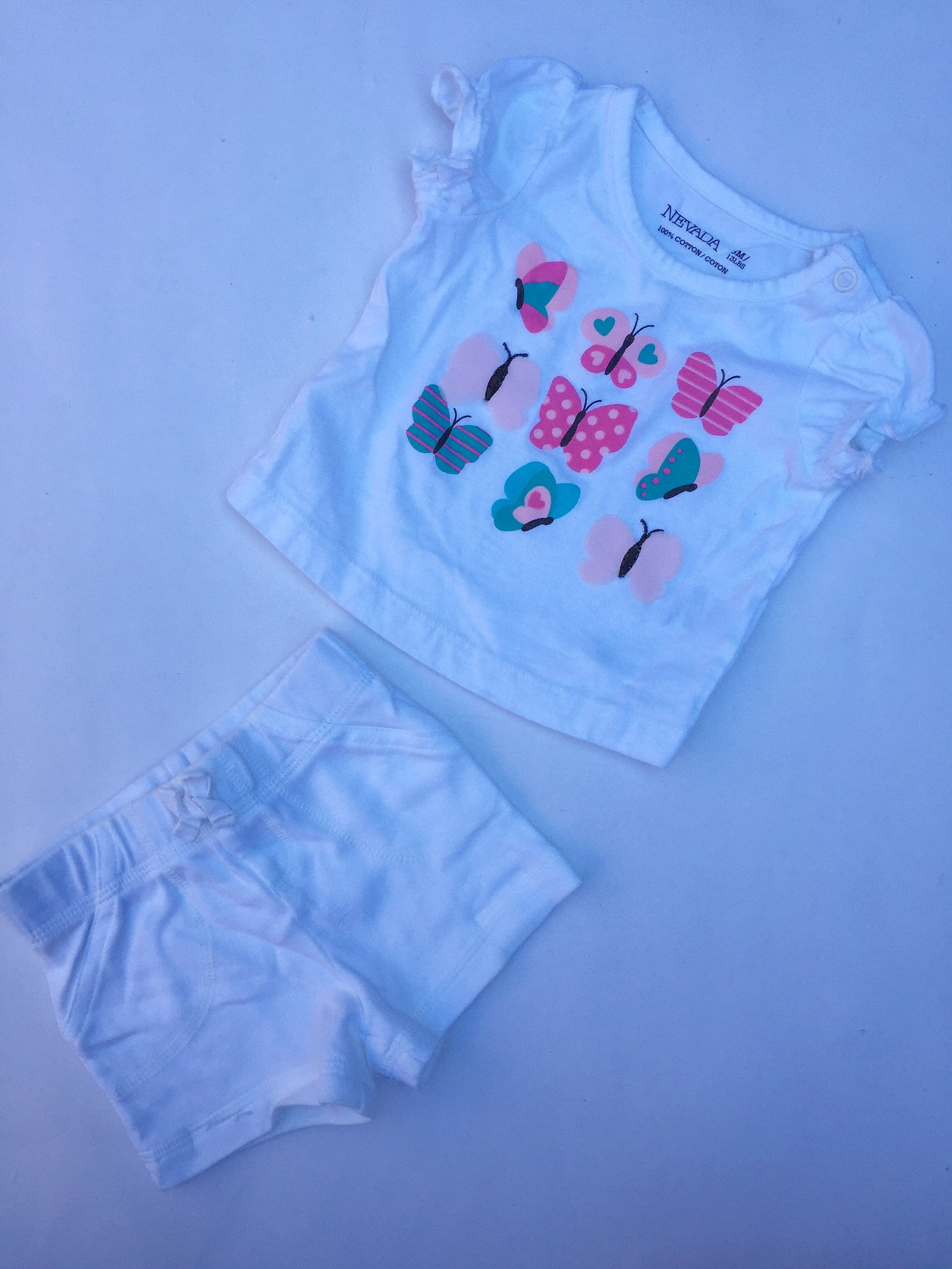 White Butterfly Tshirt & Shorts | Girls | 3 Months
