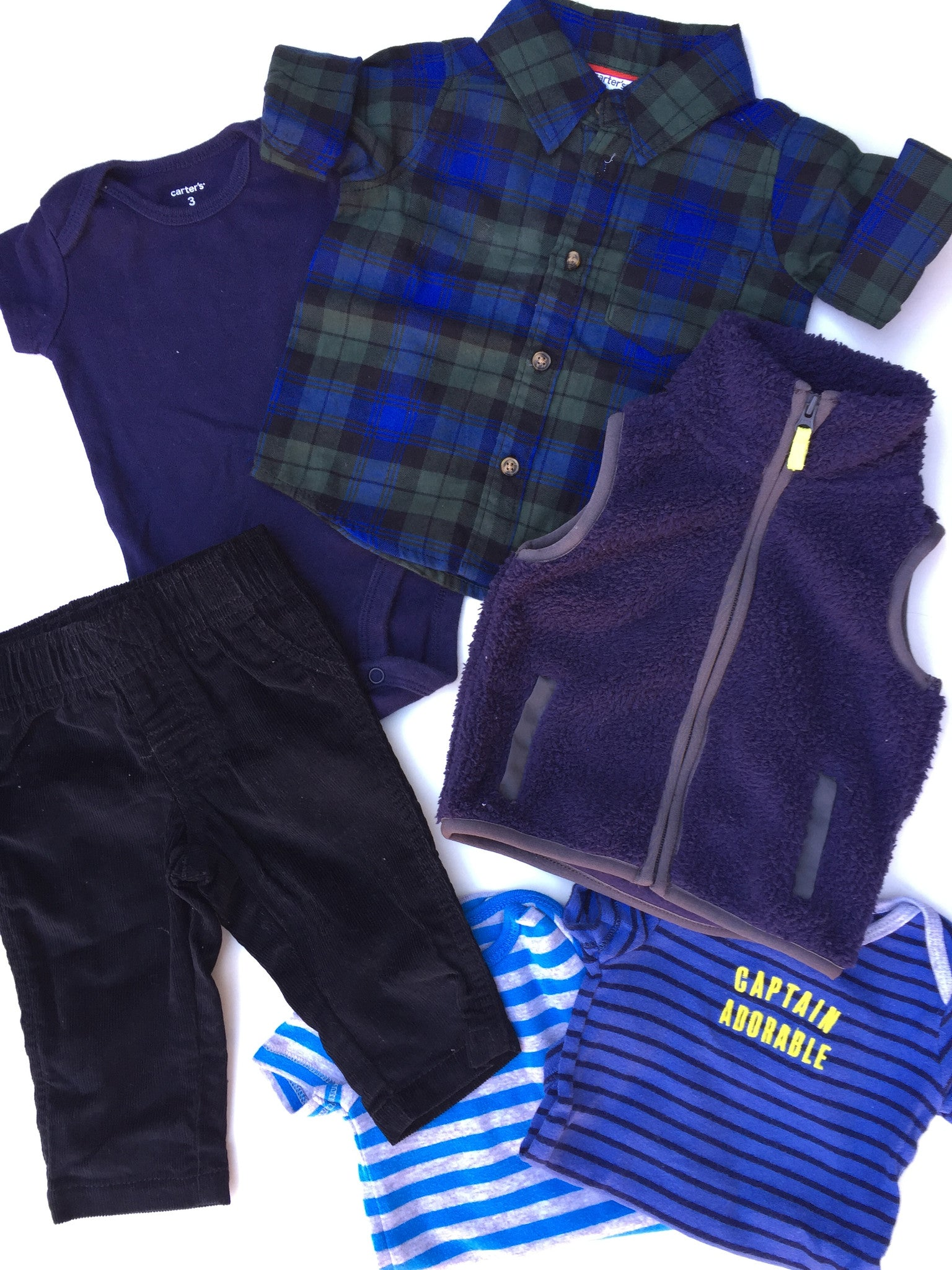Carter's Plaid Shirt Outfit + Onesies | 3M