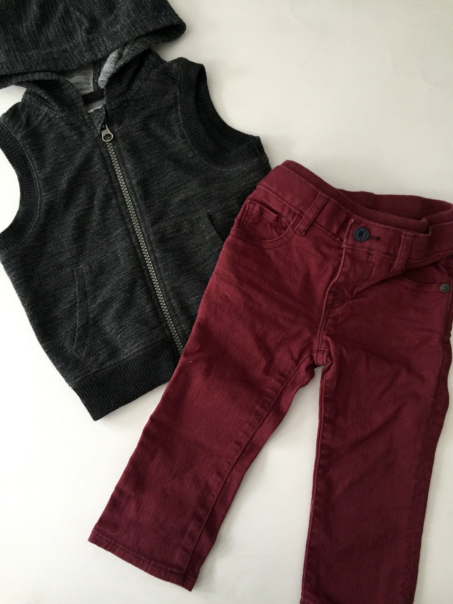 Joe Fresh Burgundy Jeans + Sleeveless Hoodie Vest | 12-18M