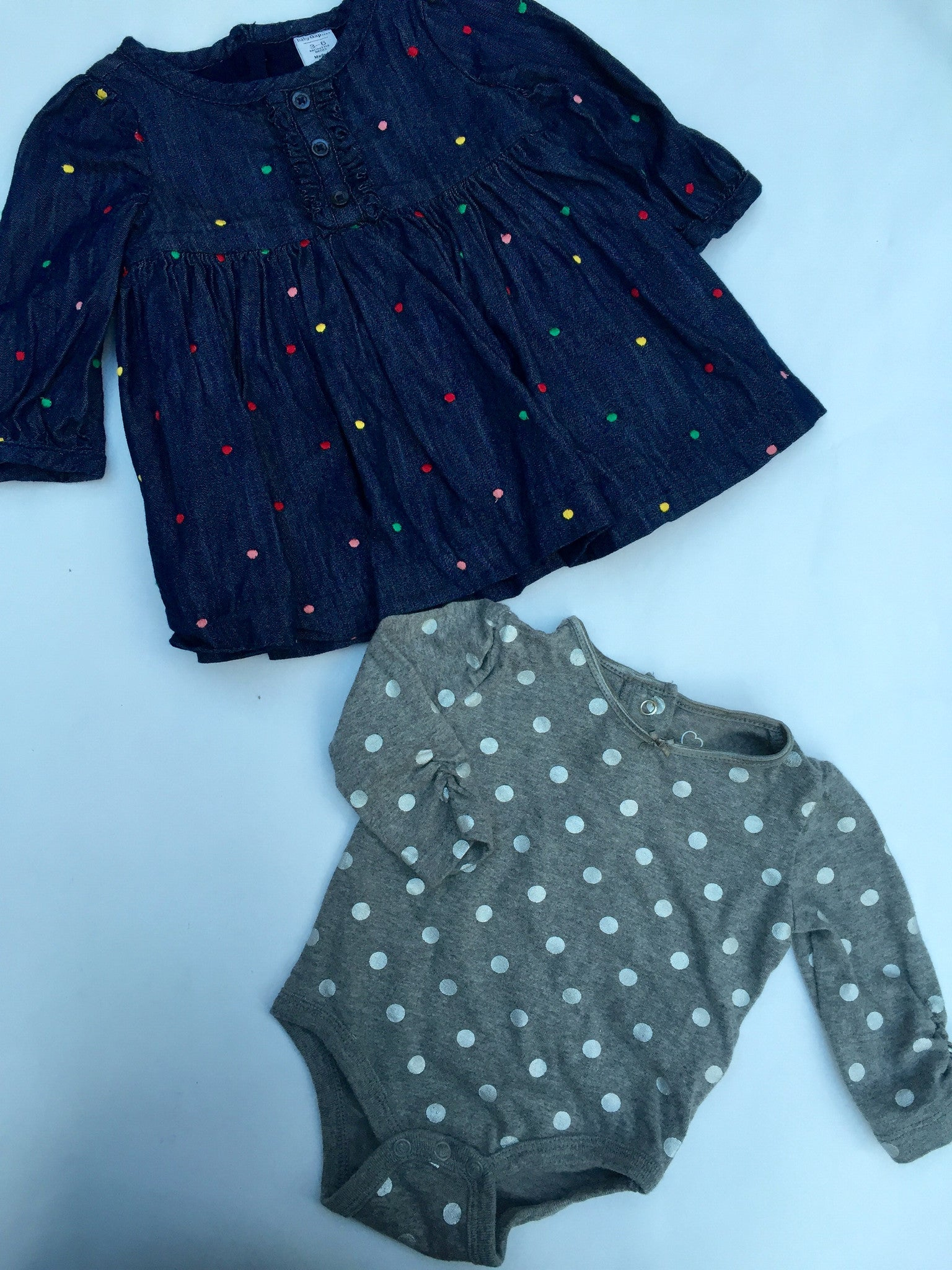 Baby Gap Denim Polka Dot Dress + Joe Fresh Onesie | 3-6M