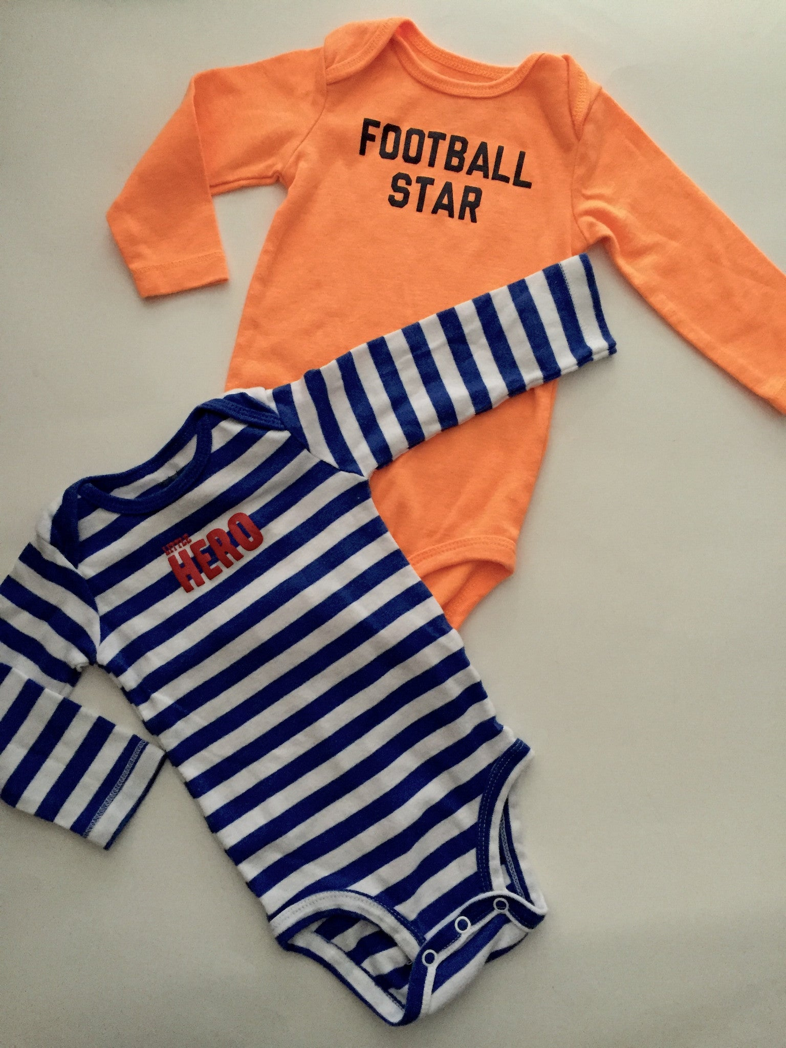 Carter's Football + Hero Onesies | 9M