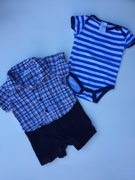 Absorbs Button Shirt Shorts Onesie + 2 Chickpea Onesies | 3-6M