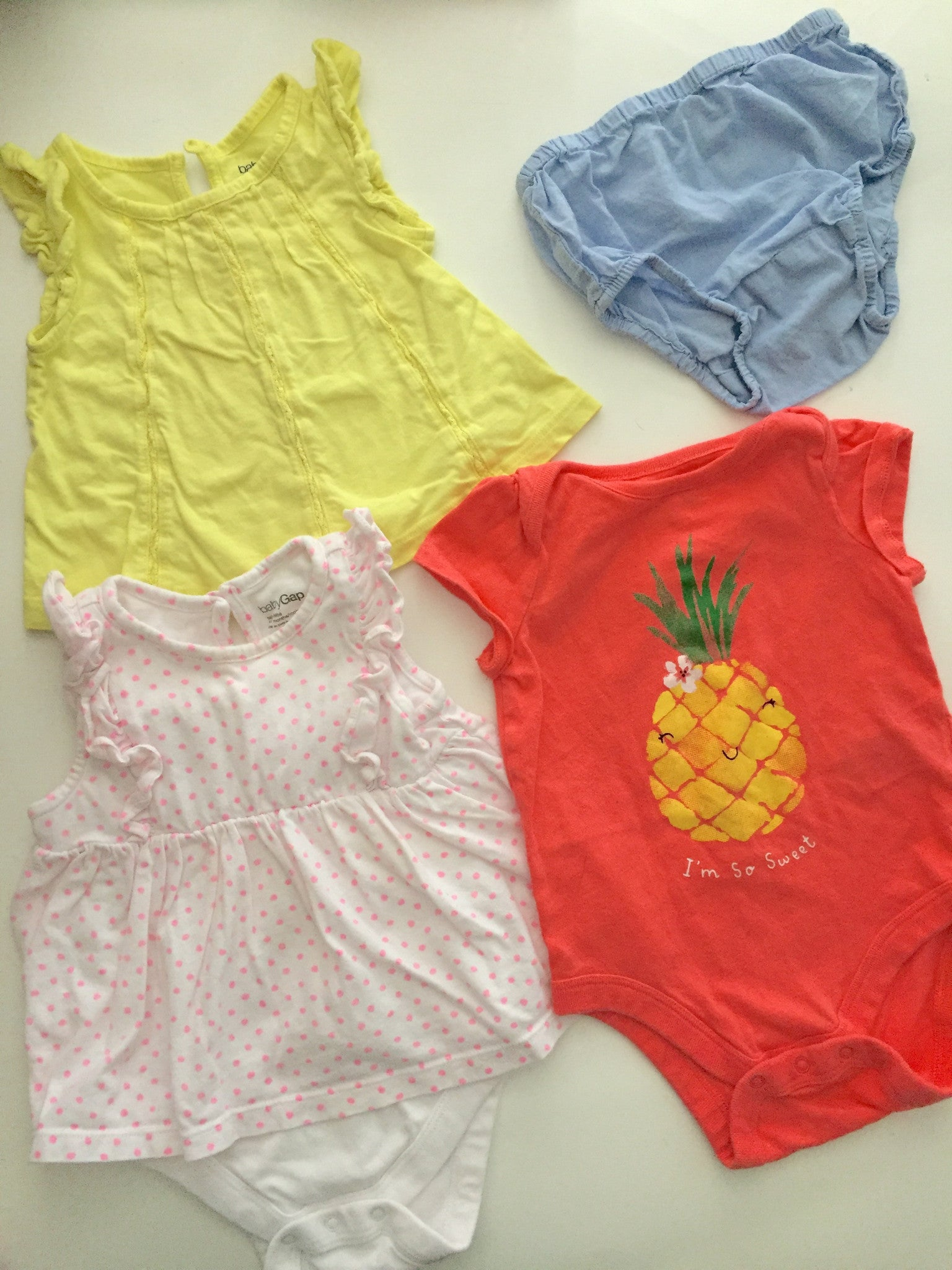 Carter's Shirts + Baby Gap Onesie + Chambray Bloomer Shorts | 6-12M