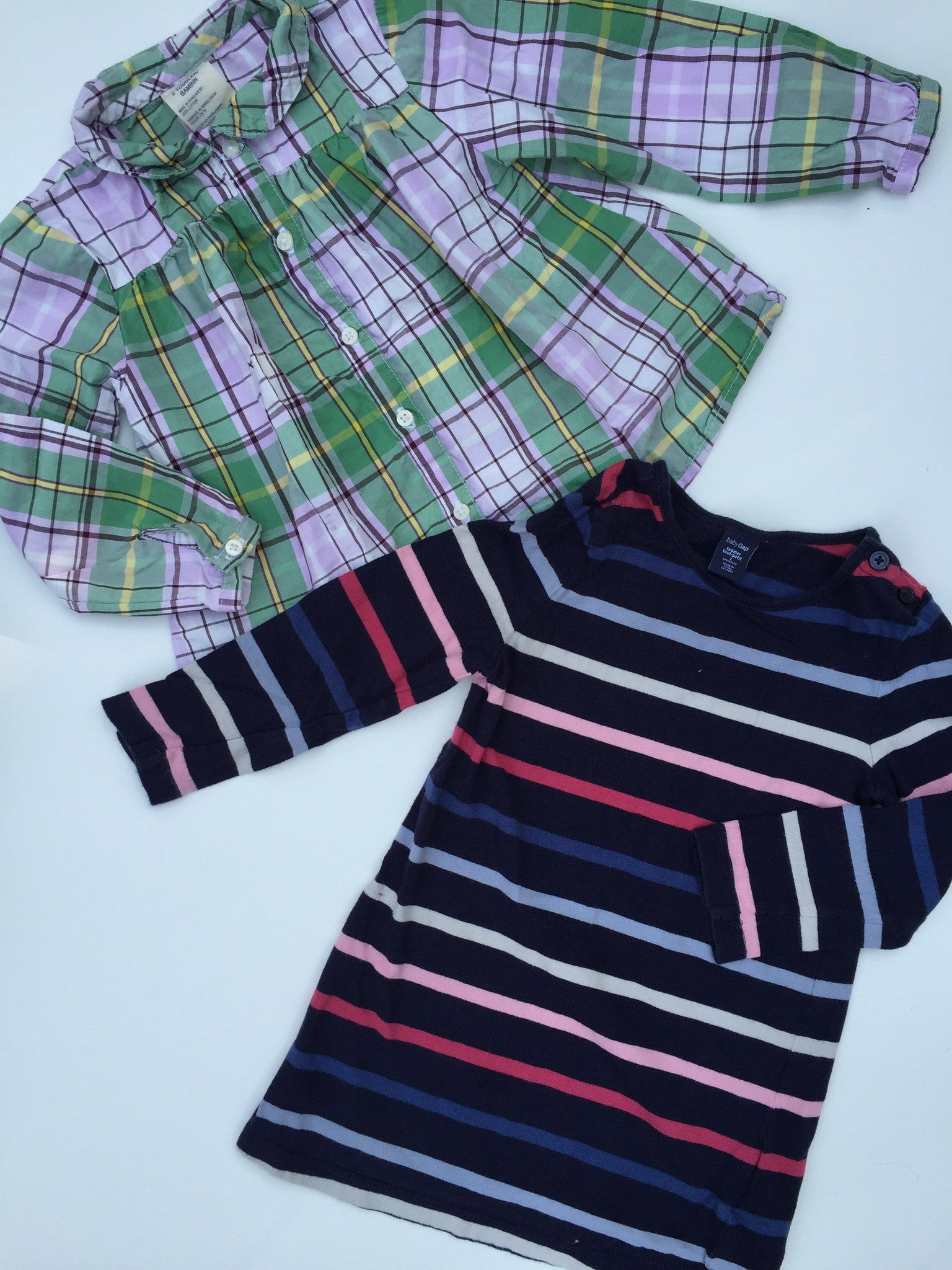 Old Navy Plaid Shirt + Baby Gap Striped Frock | 2T