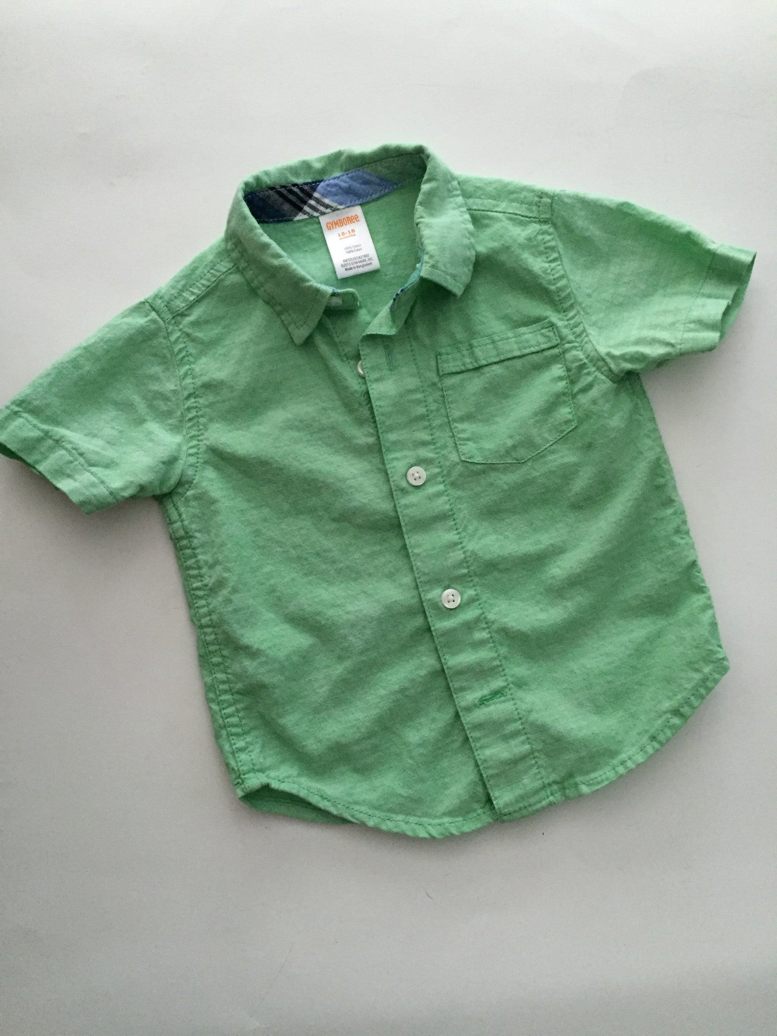 Gymboree Green Button Up Shirt | 12-18M