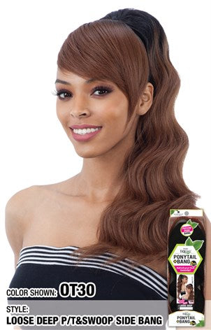 Loose Deep Ponytail & Swoop Side Bang