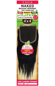 Naked 4x4 Straight Lace Closure 16""