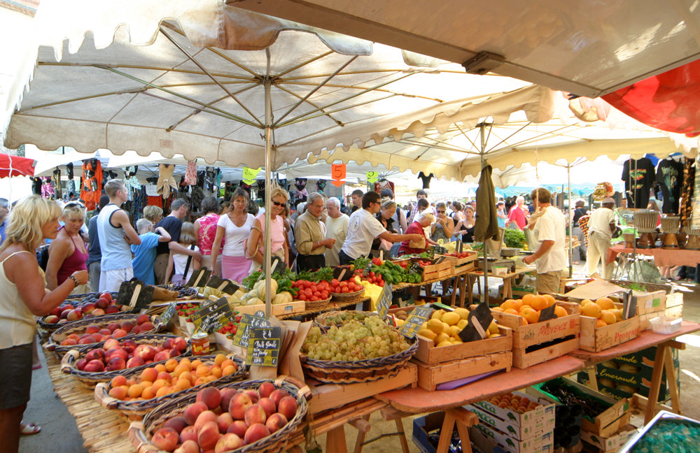 Food stands in St Tropez's famous market