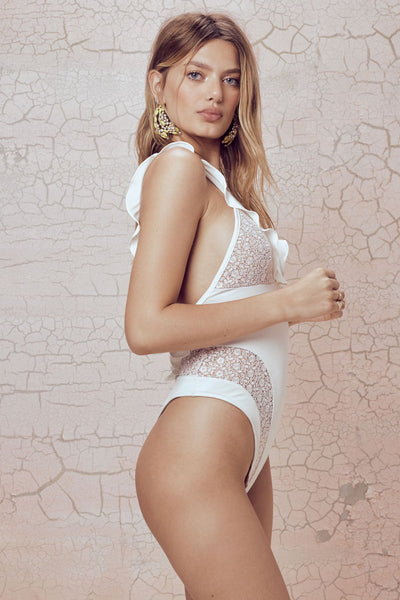 For Love & Lemons - Daiquiri Lace One Piece - White
