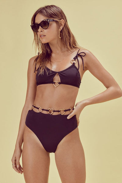 For Love & Lemons - Heart Strings Bikini Set - Noir