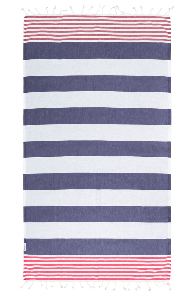 Hammamas - Reef Raspberry & Navy Beach Towel