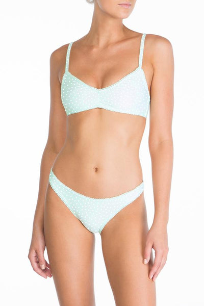 Peony - Ruched Bralette & Tan Pant - Mint