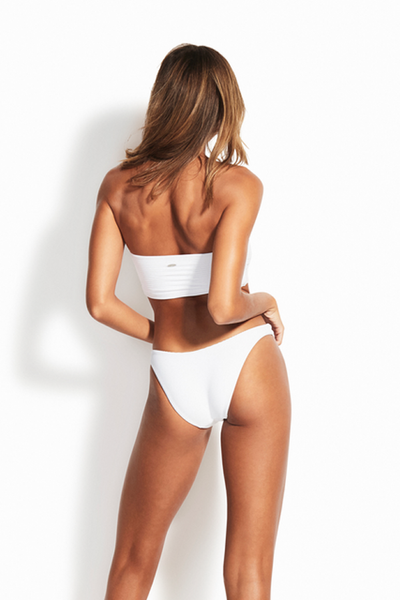 Seafolly - Tube Top & High Cut Bottoms - White