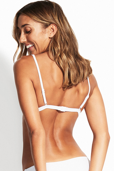 Seafolly - Fixed Tri Bra & Hipster Bottoms - White