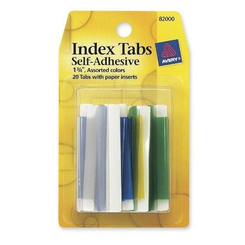 INDEX TABS 1-3/4 20ct ASSORTED COLOR - AVERY
