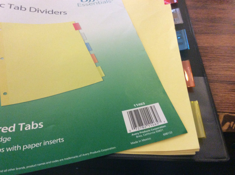 Index Dividers 5 Multi-Colored Tabs