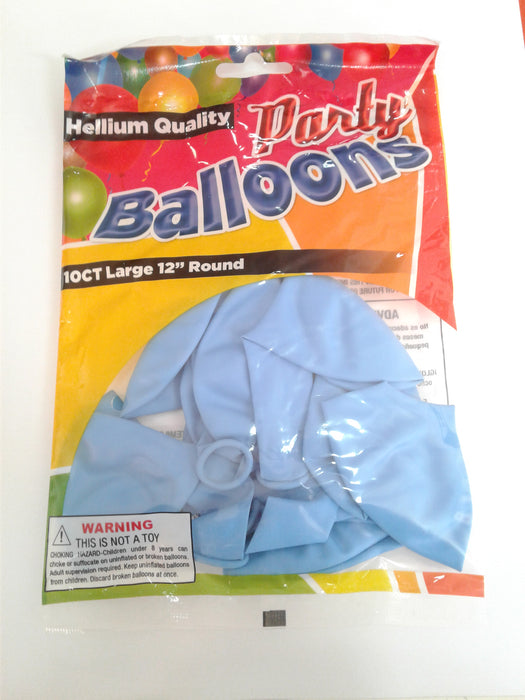 "Balloons 10 Ct 12"" Standard Light Blue Helium Quality"