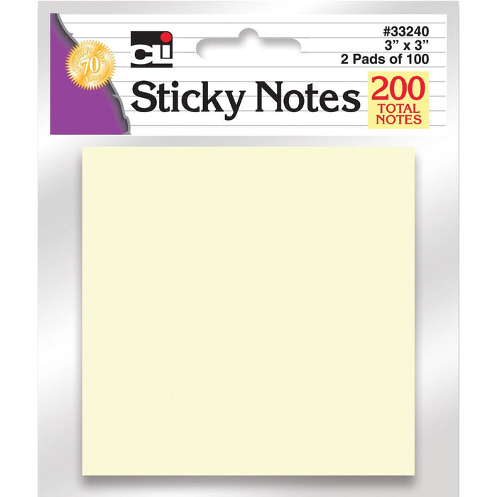 Pastel Yellow Sticky Notes (2Ct) #33240