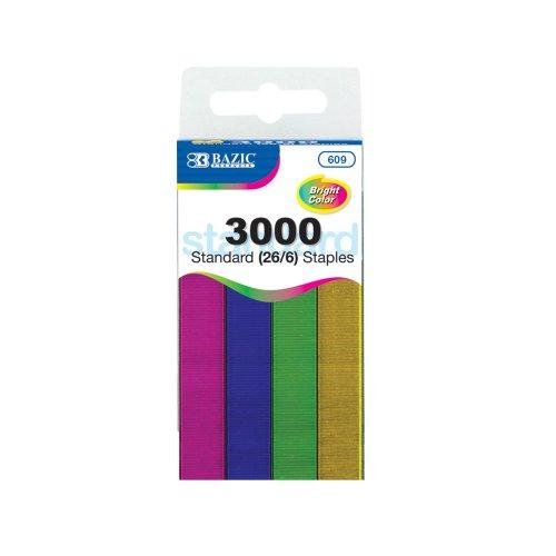 BAZIC STANDARD METALLIC COLORED STAPLES 5000CT #609