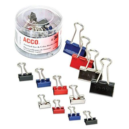 BINDER CLIPS ASSORTED (30) 71130