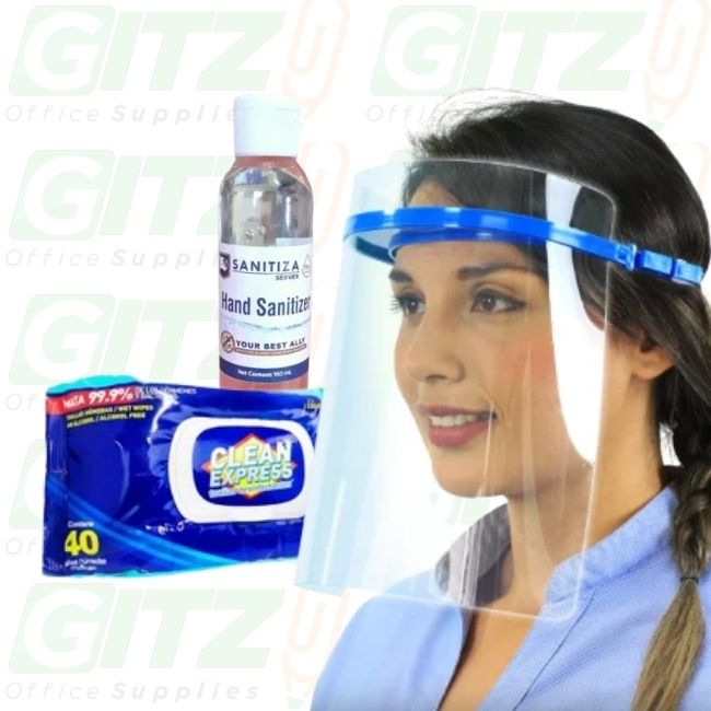 COVID VALUE PACK -SANITIZER+FACE SHIELD+1 wipe FREE