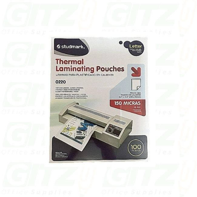 Thermal Laminating Pouches  Ltr 9X11 100Ct 6Mil Studmark