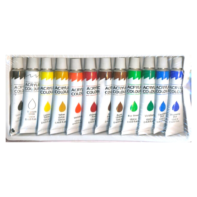 Professional Acrylic Paint Set 12 Colours Metal Tubes 12ml For Artist Painting