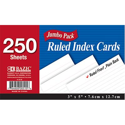 Index Card 3X5 Ruled White 250Ct #515