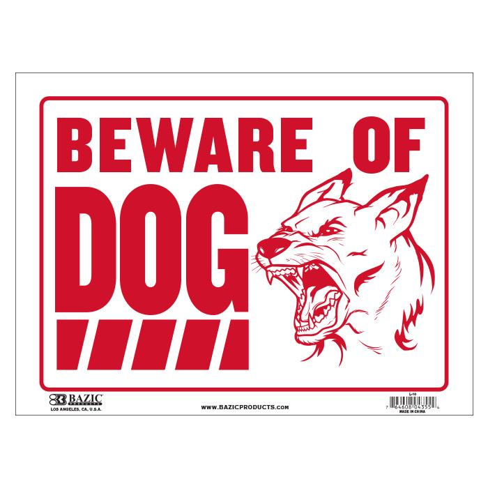 Beware Of Dog 9X12 Sign