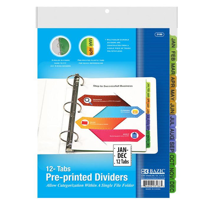 Bazic 3-Ring Binder Dividers W/ 12-Preprinted Jan-Dec Tab #3186