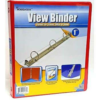 "Binder 1"" Red W View - Homework"