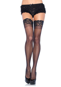 Stay Up Sheer Thigh Highs with Silicone Lace Top- Queen Size