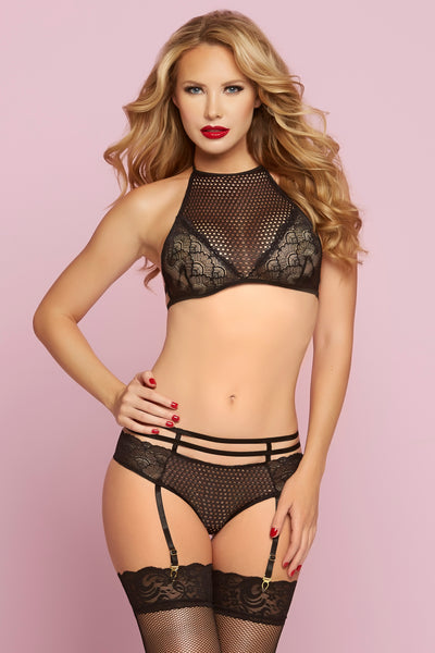 Crochet Netting & Floral Lace Bra Set